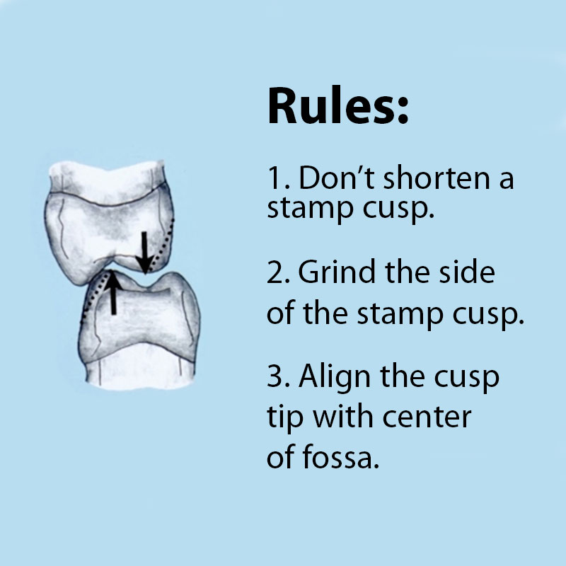 Rules of Grinding Stamp Cusps